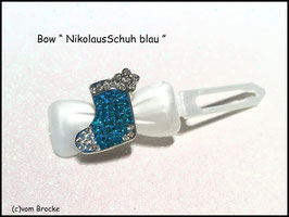 "HundeHaarSchmuck Spange ""Rhinestone  Nikolaus  Schuh  Blau / Kristall """