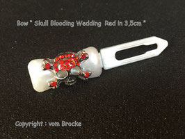 "HundeHaarSpange "" Skull in Rhinestone Red No 2 """