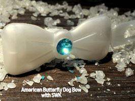 "Kunststoff HundehaarSpange/ SWK  "" Glamour American Butterfly  Dog Bow Perlmut weiß /großer türkiser SWK """