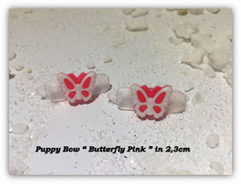 "HundeHaarSpange Mini Puppy Bow   "" Butterfly Pink     """