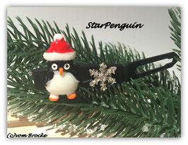 "HundeHaarSpange  "" Pinguin  mit Snowflake Rhinestone schwarzer Spange """