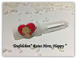 """HundeHaarSpange """" Teufelchen , rotes Herz  Happy """""""