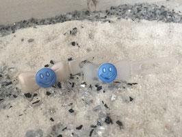 "Emotion / Smiley klein HundeHaarSpange "" Lachende SMILEY`S  Hellblau """