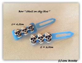 Limted Edition !!!! Skulls (3) on sky blue bow