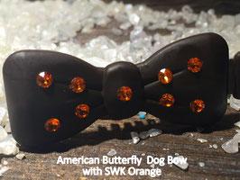 "Kunststoff HundehaarSpange/ SWK  "" Glamour American Butterfly Dog Bow Brown Nr . 3  Orange SWK """