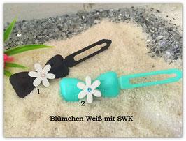 Sommerblumen  HundehaarSpange Weiß mit SWK