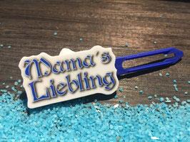 """Motiv HundeHaarSpange """" Mama´s Liebling Blau """""""