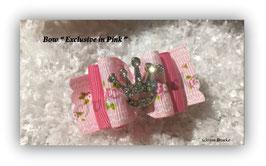 """HundeHaarSpange : Schleife """" Zauberhafte Schleife in rosa mit Krönchen   """""""