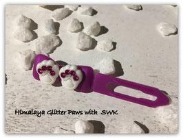 "HundeHaarSpange  "" Himalaya Glitter Paws White  Fuchsia """