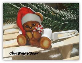 "WeihnachtsMotiv HundeHaarSpange "" Christmas Baer Mütze links """