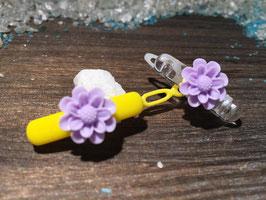 """WelpenHundehaarSpange Blume  2,7cm """" Gänseblümchen Flieder   """""""