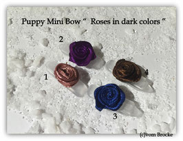 "HundeHaarSpange Mini Puppy Bow   "" Roses in dark colors """
