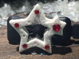 """HundehaarSpange """" Christmas Star White Glitter  Nr . 7"""