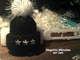 """WinterMützchen  """" Elegantes SternenDesign schwarz mit SWK  Sternen """""""