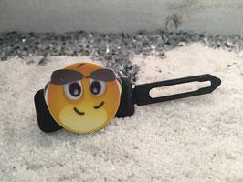 """Emotion / Smiley HundeHaarSpange  """" Aber HALLO  SMILEY  mit schwarzer Sonnenbrille  """" Nr 6"""