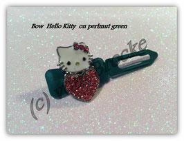 "HundeHaarSpange  Hello Kitty "" Kitty Heart Rhinestone perlmut  Green """