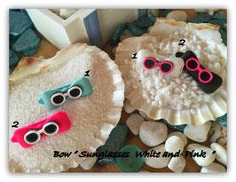 """Hundehaarspange """" Beach Sonnenbrille  weiß und pink """""""