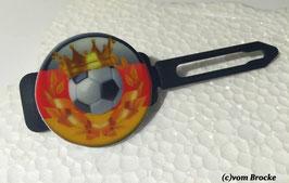 """MotivHundehaarSpange   """" Fußball  mit Krone """""""