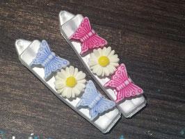 """Balken HundehaarSpange  """" Schmetterling/Blume 2er Set """""""