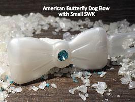 "Kunststoff HundehaarSpange/ SWK  "" Glamour American Butterfly  Dog Bow Perlmut weiß /mittlerer türkiser  SWK """