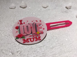"MotivHundehaarSpange ""  I Love you  MUM in Pink """