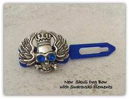 Metall TotenkopfHundehaarSpange Nr. 1 mit SWK Blau