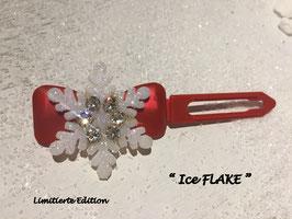 "Limitierte Edition:  HundehaarSpange Schneeflocke  : "" Ice FLAKE ROT 2 """