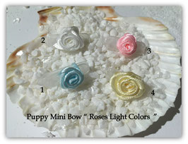 "HundeHaarSpange Mini Puppy Bow   "" Roses Light Colors """