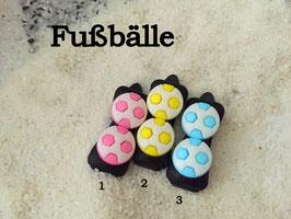 "HundehaarSpange  "" 2er Fußball auf schwarzer Spange  rosa/gelb/türkis SetNr 1 """