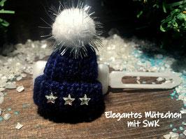 """WinterMützchen  """" Elegantes SternenDesign dunkelblau mit SWK  Sternen """""""