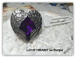 "HundeHaarSpange mit MetallApplikation  "" LOVE Heart in Purple """