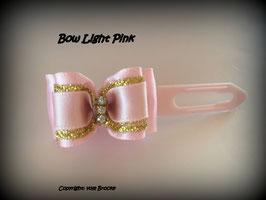 """Schleife """" Classic Bow Light Pink mit Goldstreifen """""""