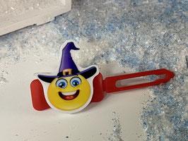 """Halloween Bunte Motivspange """" Smiley mit Hexenhut  0 """""""