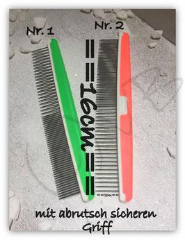 Kamm Edelstahl  mit Kunststoffgrigg und Einkerbung 16cm ; Neonorange oder Neongrün