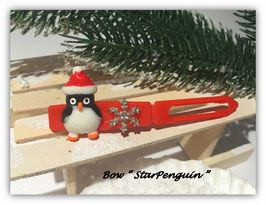 "HundeHaarSpange  "" Pinguin  mit Snowflake Rhinestone rote Spange """