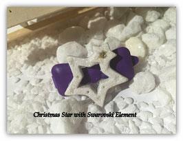 """HundehaarSpange """" Christmas Star White Glitter  Nr . 5"""