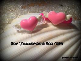 "WelpenHaarSpange  "" Strandherzen rosa/weiß """