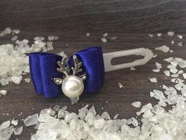 """WeihnachtsSchleife """" Rentierkopf  Silber  Nr. 3 Royalblau """""""