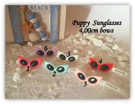 "Hundehaarspange "" Puppy Sunglasses 4,0cm bow white """