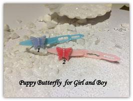 "HundeHaarSpange  Einzelstück  2,7cm "" Butterfly hellblau """