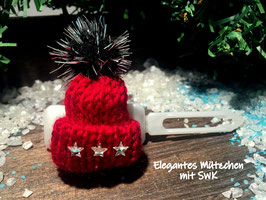 """WinterMützchen  """" Elegantes SternenDesign rot mit SWK  Sternen """""""