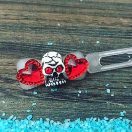 "HundeHaarSpange  Einzelstück 3,5cm  Nr. 10 "" Heart Skull mit SWK rot """