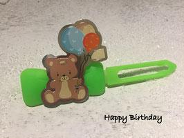 """HundeHaarspange Bärchen """" Happy Birthday"""""""