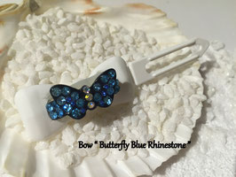 "HundeHaarSpange mit MetallApplikation  "" Butterfly Rhinestone Blue and Pink  """