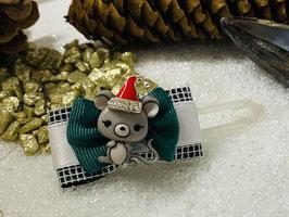 """Weihnachtsschleifen Disney und Co """"  WeihnachtsMaus mit Mützchen auf  grüner Schleife"""""""