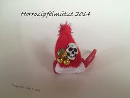 Zipfelmütze Rot  mit 3 Goldkugeln und Totenkopf