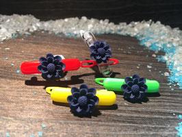"""WelpenHundehaarSpange Blume 2,7cm   """" Gänseblümchen Blau """""""