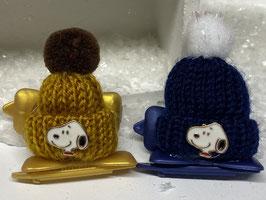 Wintermützchen mit SnoopyApplikation  Gold / Dunkelblau