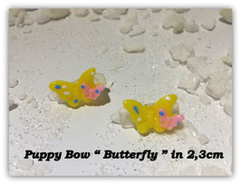 "HundeHaarSpange Mini Puppy Bow   "" Butterfly gelb   """
