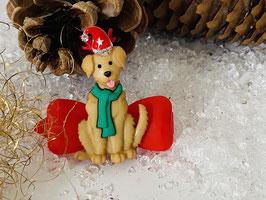 """Klassische WeihnachtshundehaarSpangen  """"  Weihnachtswuff  2 mit Rhinestone Mützchen  """""""